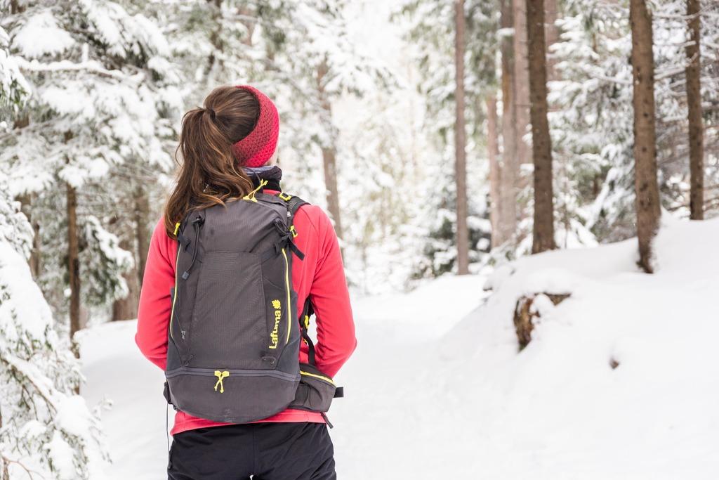 randonneur dans forêt enneigée