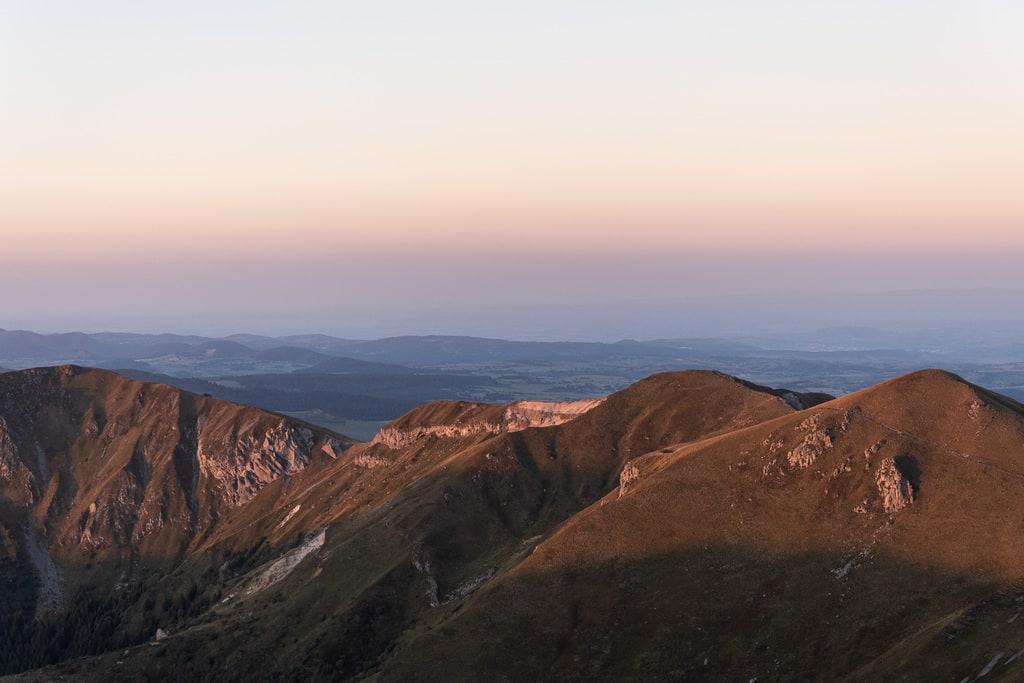 vue montagne coucher de soleil