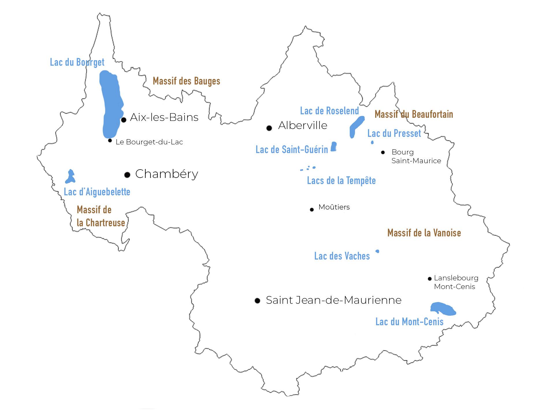 carte Savoie lac