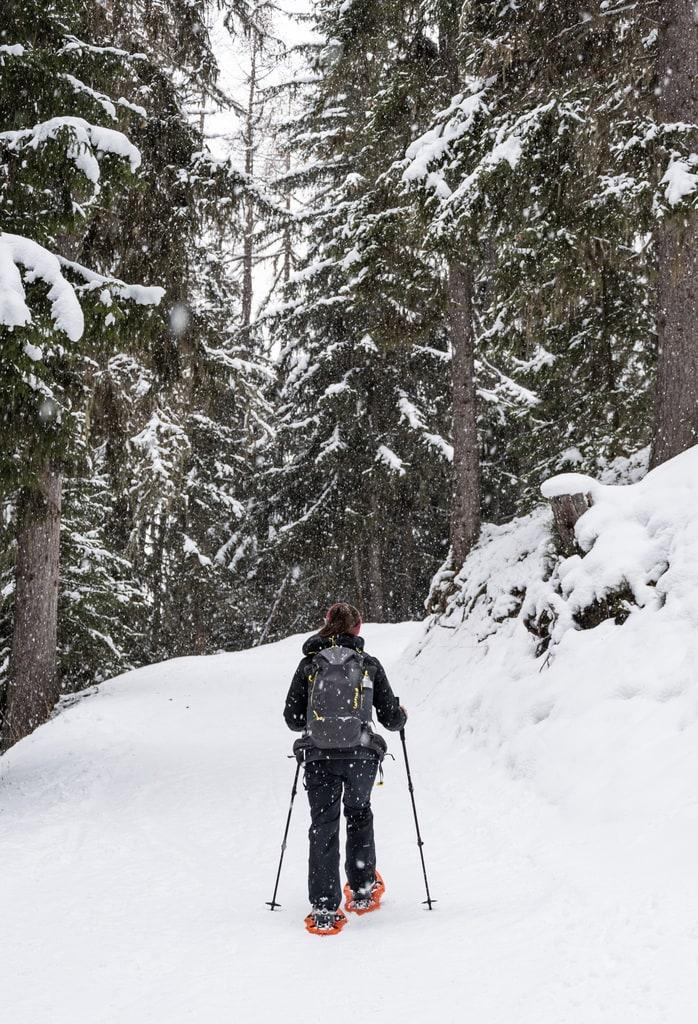 randonneur en raquettes sous la neige
