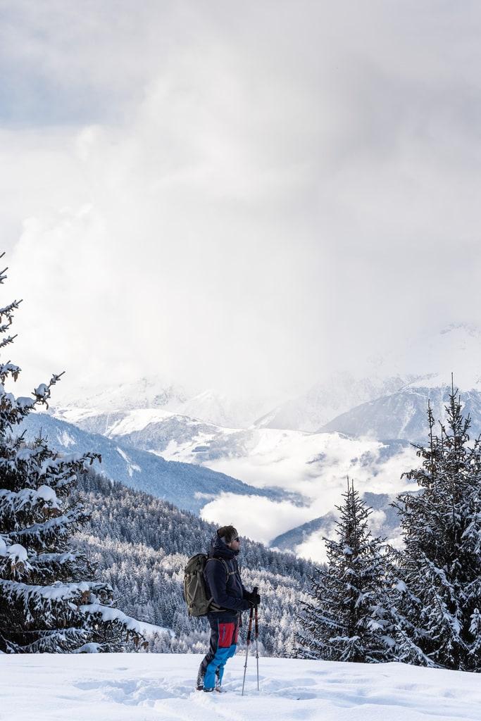 skieur face aux montagnes